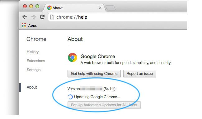 update the google chrome